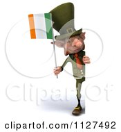 Clipart Of A 3d Irish Leprechaun Holding A Flag By A Sign 2 Royalty Free CGI Illustration by Julos