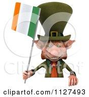 3d Irish Leprechaun Holding A Flag By A Sign 1
