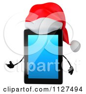 3d Presenting Christmas Tablet Wearing A Santa Hat