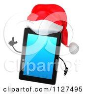 3d Smart Christmas Tablet Wearing A Santa Hat