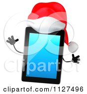 3d Christmas Tablet Wearing A Santa Hat
