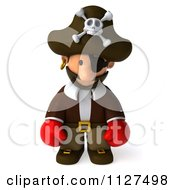 Clipart Of A 3d Pirate Boxer Pouting Royalty Free CGI Illustration