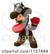 Clipart Of A 3d Pirate Boxer Punching Royalty Free CGI Illustration