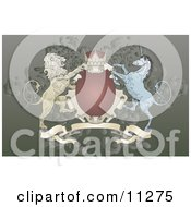 Crown Lion And Blue Unicorn On A Coat Of Arms Clipart Illustration