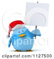 Clipart Of A 3d Christmas Bluebird Holding A Sign Royalty Free CGI Illustration
