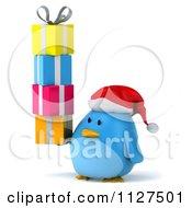 Clipart Of A 3d Christmas Bluebird Carrying Gifts Royalty Free CGI Illustration