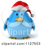 Clipart Of A 3d Christmas Bluebird Wearing A Santa Hat Royalty Free CGI Illustration by Julos