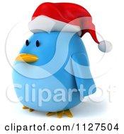 Clipart Of A 3d Christmas Bluebird Facing Left Royalty Free CGI Illustration