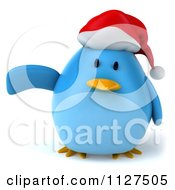 Clipart Of A 3d Christmas Bluebird Pointing Left Royalty Free CGI Illustration