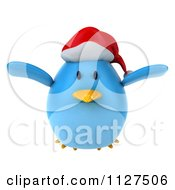 Clipart Of A 3d Christmas Bluebird Flying Royalty Free CGI Illustration