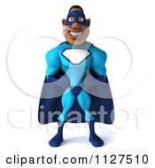3d Black Super Hero Man In A Blue Costume