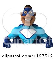 Clipart Of A 3d Black Super Hero Man In A Blue Costume Holding A Sign 1 Royalty Free CGI Illustration