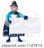 Clipart Of A 3d Black Super Hero Man In A Blue Costume Holding A Sign 3 Royalty Free CGI Illustration