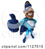Clipart Of A 3d Thumb Up Black Super Hero Man In A Blue Costume Royalty Free CGI Illustration