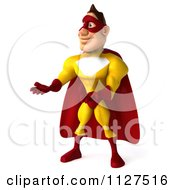 Clipart Of A 3d Presenting Super Hero Man In A Red And Yellow Costume Royalty Free CGI Illustration