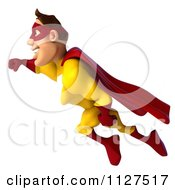Clipart Of A 3d Flying Super Hero Man In A Red And Yellow Costume 1 Royalty Free CGI Illustration