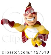 Clipart Of A 3d Flying Super Hero Man In A Red And Yellow Costume 2 Royalty Free CGI Illustration