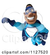 Clipart Of A 3d Flying Black Super Hero Man In A Blue Costume Royalty Free CGI Illustration