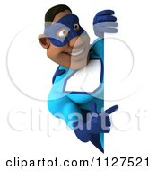 Clipart Of A 3d Black Super Hero Man In A Blue Costume Holding A Sign 2 Royalty Free CGI Illustration