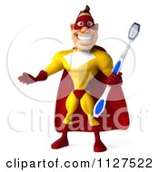Clipart Of A 3d Dental Super Hero Man In A Red And Yellow Costume Royalty Free CGI Illustration