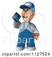 Clipart Of A 3d Mechanic Guy Using A Cell Phone Royalty Free CGI Illustration