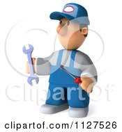 Clipart Of A 3d Mechanic Guy Facing Left Royalty Free CGI Illustration