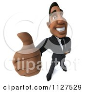 Clipart Of A 3d Handsome Black Businessman Holding A Thumb Up Royalty Free CGI Illustration