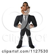 Clipart Of A 3d Handsome Black Businessman Royalty Free CGI Illustration by Julos