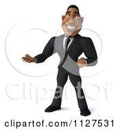 Clipart Of A 3d Handsome Black Businessman Presenting Royalty Free CGI Illustration