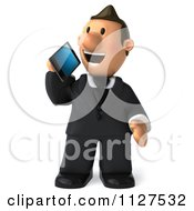Clipart Of A 3d Business Toon Guy Talking On A Cell Phone Royalty Free CGI Illustration