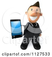 Clipart Of A 3d Business Toon Guy Holding Out A Cell Phone Royalty Free CGI Illustration by Julos