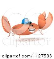 Clipart Of A 3d Crab Wearing A Baseball Cap And Jumping Royalty Free CGI Illustration