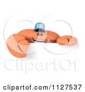 Clipart Of A 3d Crab Wearing A Baseball Cap Over A Sign Royalty Free CGI Illustration