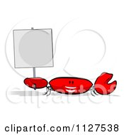 Clipart Of A Cartoon Crab Holding A Sign Royalty Free CGI Illustration