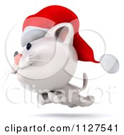 Clipart Of A 3d Christmas Kitten Running Royalty Free CGI Illustration