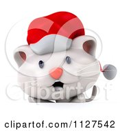 Clipart Of A 3d Christmas Kitten Over A Sign Royalty Free CGI Illustration