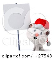 Clipart Of A 3d Christmas Kitten By A Sign Royalty Free CGI Illustration by Julos