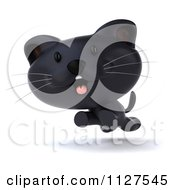 Clipart Of A 3d Black Kitten Running Royalty Free CGI Illustration