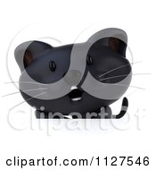 Clipart Of A 3d Black Kitten Over A Sign Royalty Free CGI Illustration