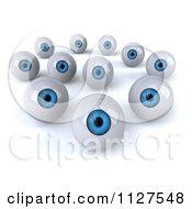 Clipart Of 3d Blue Eyeballs Staring Royalty Free CGI Illustration