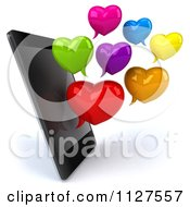Clipart Of A 3d Smart Phone With Heart Shaped Chat Balloons Royalty Free CGI Illustration