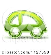 Clipart Of A 3d Green Glass Car Royalty Free CGI Illustration