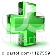 Clipart Of A 3d Green Medical Cross Icon Royalty Free CGI Illustration