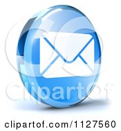Clipart Of A 3d Blue Glass Email Icon Royalty Free CGI Illustration
