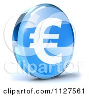 Clipart Of A 3d Blue Glass Euro Symbol Icon Royalty Free CGI Illustration by Julos