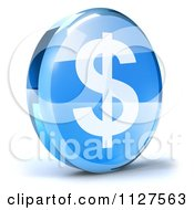 Clipart Of A 3d Blue Glass Dollar Symbol Icon Royalty Free CGI Illustration