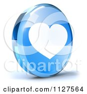 Clipart Of A 3d Blue Glass Heart Icon Royalty Free CGI Illustration