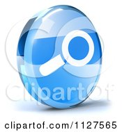 Clipart Of A 3d Blue Glass Search Icon Royalty Free CGI Illustration