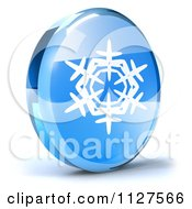 Clipart Of A 3d Blue Glass Snowflake Icon Royalty Free CGI Illustration