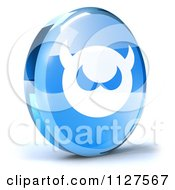 Clipart Of A 3d Blue Glass Computer Virus Icon Royalty Free CGI Illustration